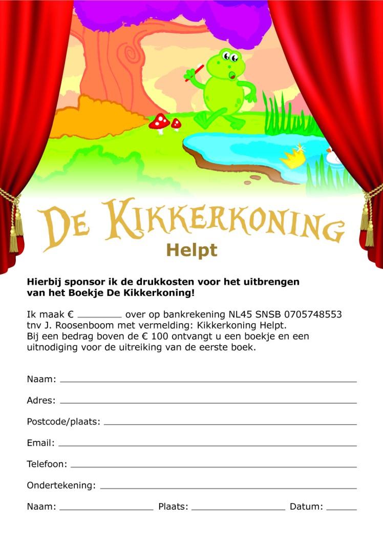 kikkerkong helpt sponsors gezocht (achterzijde voorinschrijvingkopie